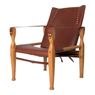 Bespoke Brown Leather Safari Lounge Chair