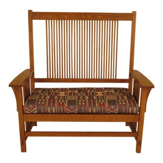 1990s Vintage Stickley Mission Style Spindle Back Settee For Sale