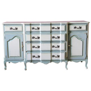 Gustavian Style Distressed Painted Sideboard For Sale