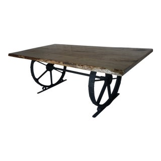 Country Live Edge Dining Table For Sale