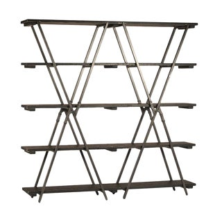 Industrial Wood & Metal X Bookcase For Sale
