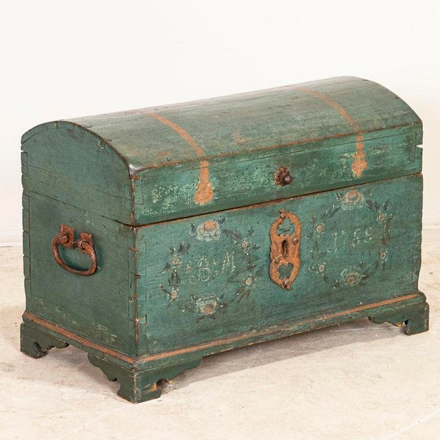 Antique Original Blue Painted Small Trunk Dated 1788 From Sweden For Sale - Image 13 of 13