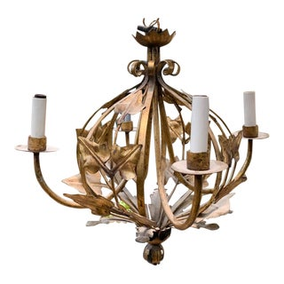 Mid Century French Gold Toleware Chandelier For Sale