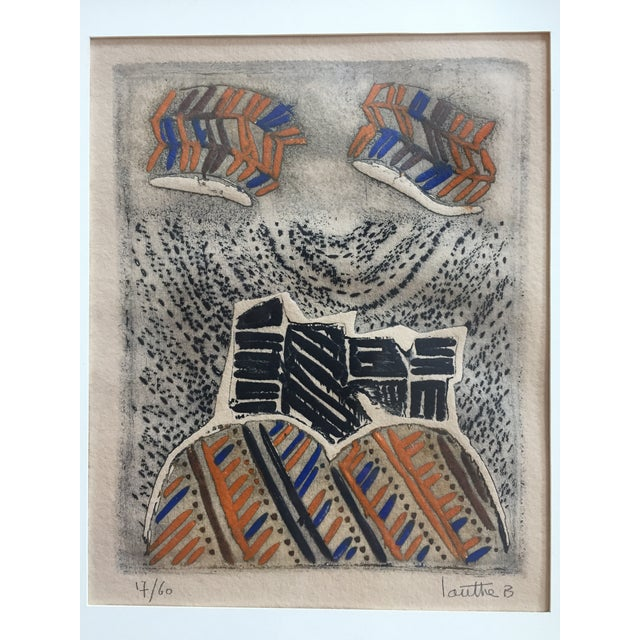 Vintage Original Lithograph Abstract by Jean Lauthe For Sale - Image 4 of 7