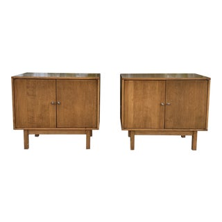 1970's Beech Wood Cabinets-a Pair For Sale