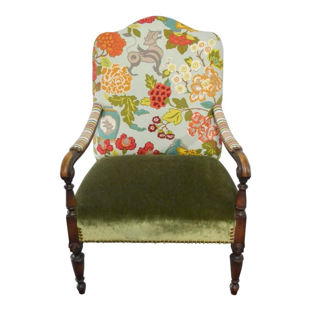 Modern Occasional Chair in Fabricut Print With Mohair For Sale