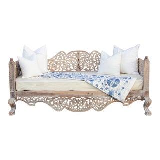 Elegant Anglo Raj Carved Daybed For Sale