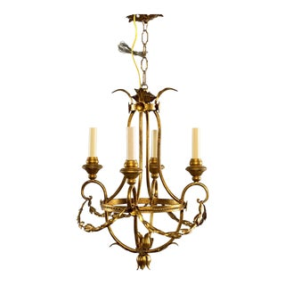 Vintage used detroit chandeliers chairish french gilt metal four light chandelier with wood bobeches aloadofball Choice Image
