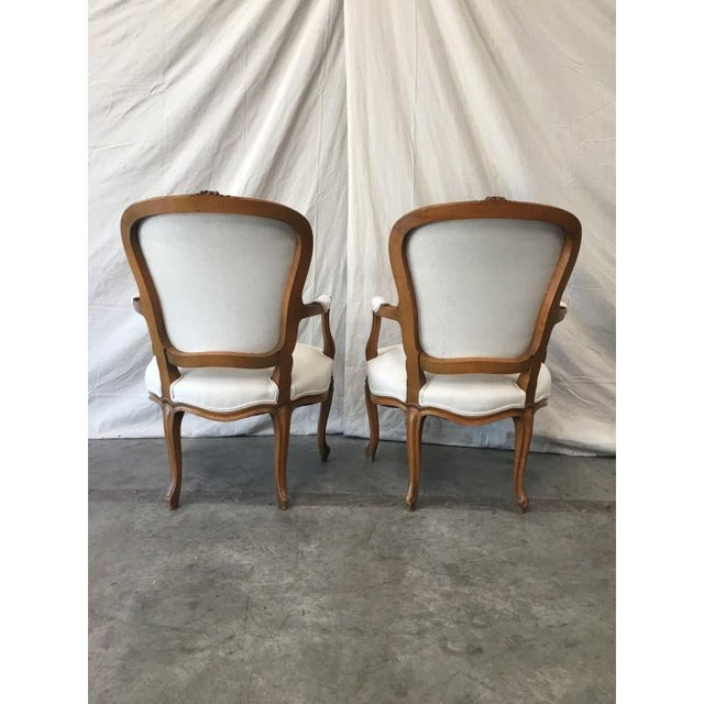 Louis XV White Linen Walnut Armchairs - A Pair For Sale - Image 5 of 8