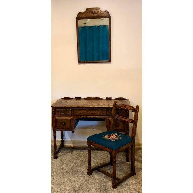 Vintage Mid Century Jamestown Lounge Co. Feudal Oak Desk Set- 3 Pieces For Sale - Image 12 of 13