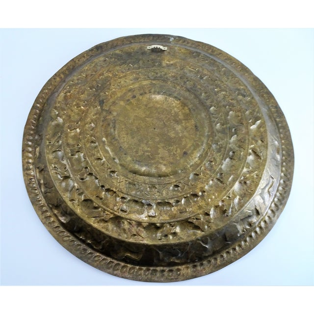 Vintage Tribal Boho Brass Decorative Tray For Sale - Image 10 of 13