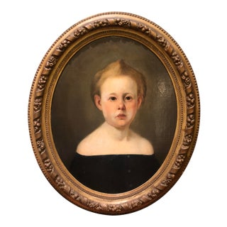 Antique Early 19c Child Portrait Painting For Sale