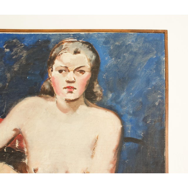 Figurative 1930s French Seated Nude Painting, Framed For Sale - Image 3 of 5