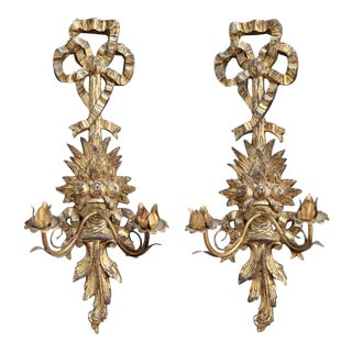 1960s Italian Giltwood Wall Sconces - a Pair For Sale