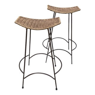 Mid Century Modern Arthur Umanoff Wicker Barstools- a Pair For Sale