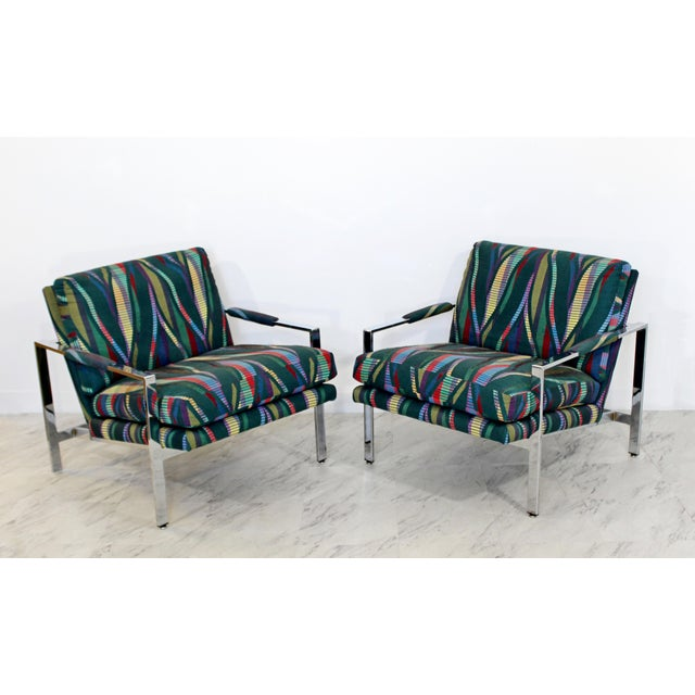 For your consideration is a wonderful pair of chrome cube armchairs, with a fabulous Jack Lenor Larsen style fabric, by...