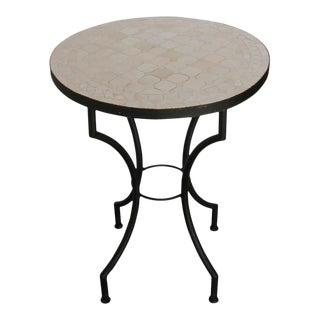 Mid 20th Century Moroccan Mosaic Tiles Ivory Color Bistro Table For Sale