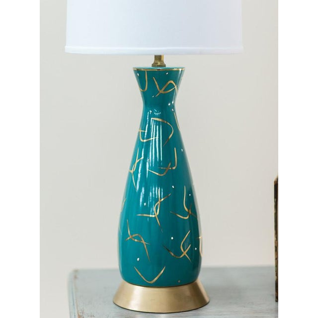 Vintage American Atomic Age Glazed Table Lamp circa 1950 For Sale - Image 4 of 7
