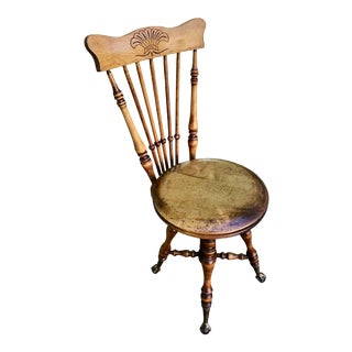 1940 Piano Stool With Windsor Back, Adjustable Swivel Seat, & Glass Ball & Claw Brass Feet For Sale