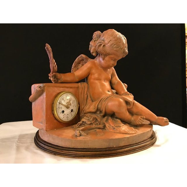 Neoclassical French Terracotta Cherub Mantle Clock For Sale - Image 3 of 11