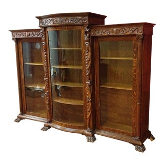 1880 Presidential Tiger Oak China Cabinet