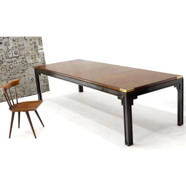 Large Burlwood Dining Table With Brass Accents and Two Extension Leaves Boards For Sale - Image 6 of 11