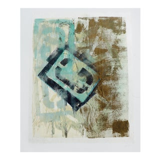 Abstract in Beige and Turquoise For Sale