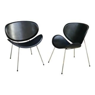 1960s Vintage Italian Leather and Chrome Side Chairs-a Pair For Sale