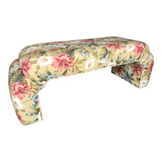 Botanical Upholstered Waterfall Bench For Sale