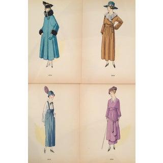 Original 1915 French Fashion Plates - Set of 4