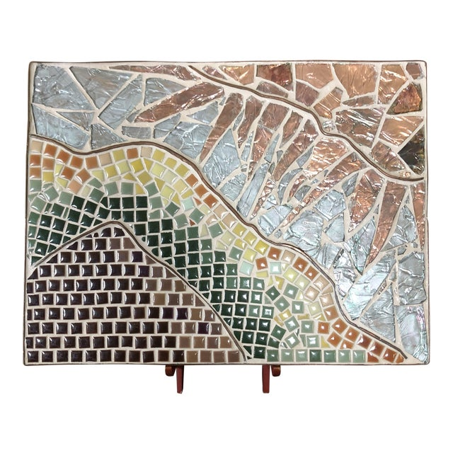 1960s Vintage Tile Glass and Copper Encased Mosaic Wall Hanging For Sale