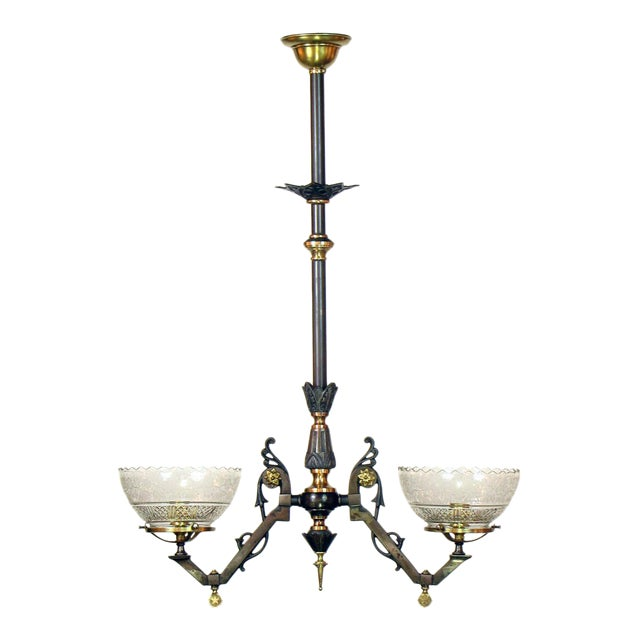 Two Light Gas Steel and Bronze Gasolier with Original Glass For Sale