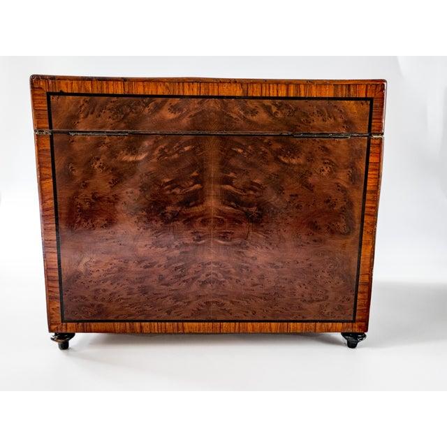 Antique French Tantalus Burlwood Hidden Liquor Cabinet & Glasses - Set of 8 For Sale - Image 10 of 12