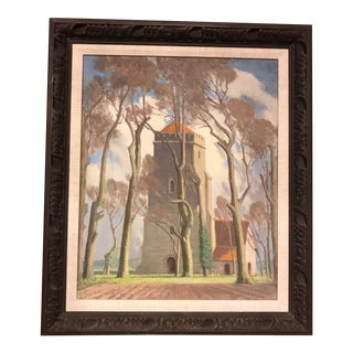"""""""Sussex Church"""" Framed Oil Painting by Harold Latham For Sale"""