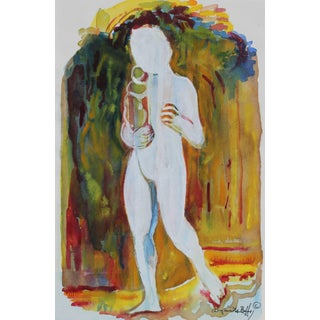 Alysanne McGaffey Figure With Child, Watercolor Painting, Circa 1960s Circa 1950s-1950s For Sale