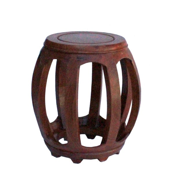 Asian Chinese Oriental Brown Stain Wood Curved Barrel Shape Stool For Sale - Image 3 of 8