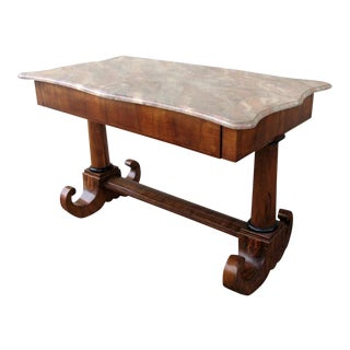 Walnut Russian Writing Desk Faux marble top later. For Sale