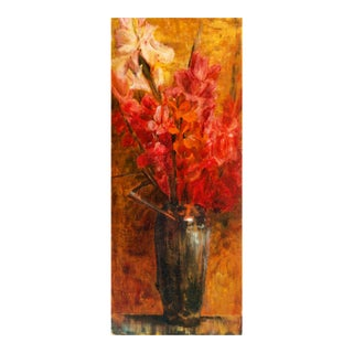'Gladioli in a Chinese Vase' by Rose Marshall, 1887; Impressionist Aesthetic Still Life, Woman Artist For Sale