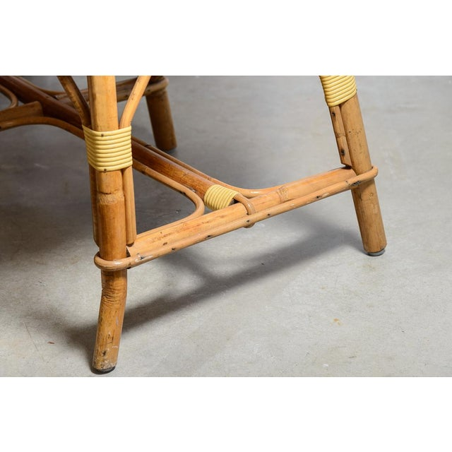 1970s Vintage French Maison Gatti Rattan and Bamboo Banquette Settee For Sale - Image 10 of 13