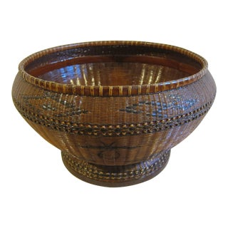 Antique Wove Rattan Basketry Bowl For Sale