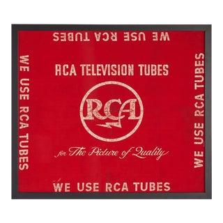 Framed Red Rca Tv Tubes Banner Circa 1950
