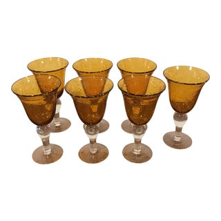 Vintage Hand Blown Amber Glass Goblets - Set of 7 For Sale