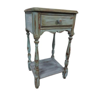 Vintage Rustic Farmhouse Shabby Aqua Distressed Spindle Coastal Teal Side Table