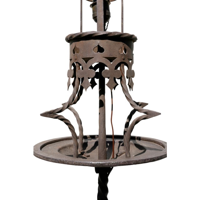 Baroque Pair of Italian Wrought Iron Torcheres For Sale - Image 3 of 7