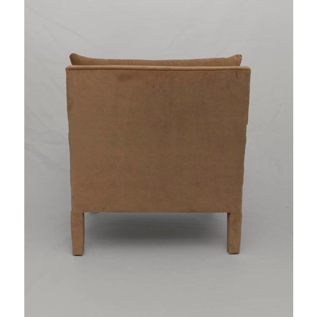 Bernhardt 1970s Milo Baughman Parsons Lounge Chairs in Cotton Camel Velvet - a Pair For Sale - Image 4 of 5