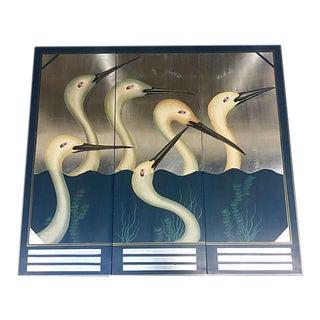 Silver Leaf Cranes on Wood Panel Triptych