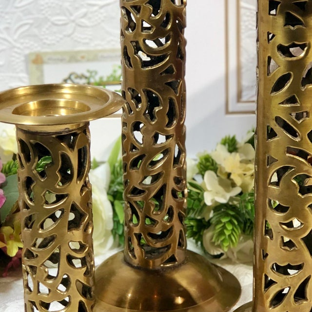 "Vintage Brass Heavy Candle Holders ""Filigree"" Tall Taper / Pillar Stand 3 - Set of 3 For Sale - Image 10 of 13"