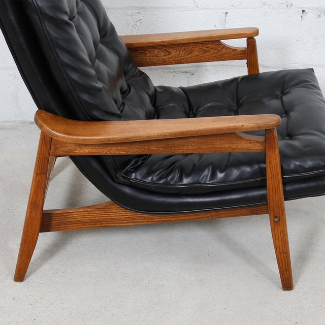 Mid-Century Modern Tufted Lounge Chair With Ottoman - Image 6 of 10