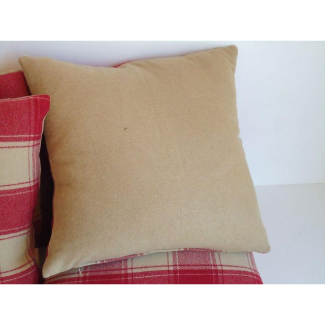Primitive Raspberry and Cream Wool Pendleton Blanket Pillows For Sale - Image 3 of 4