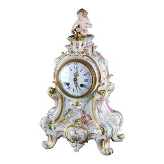 Large Classical German Handpainted Porcelain Clock For Sale